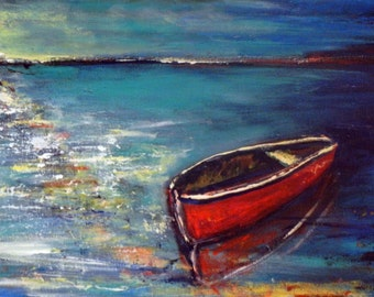 BOAT Abstract Painting - Oil Painting Impressionist Fine Art Lake Painting of Rowboat - 24x12 by BenWill