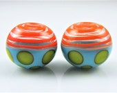 Orange Turquoise and Yellow Spots Hollow Lampwork Glass Bead Pairs