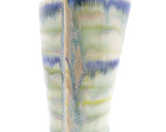 Handbuilt Blue and Green Striped Ceramic Tumbler, Drinkware, Barware, Drippy Glaze, Slab Built, OOAK Cup, Cup