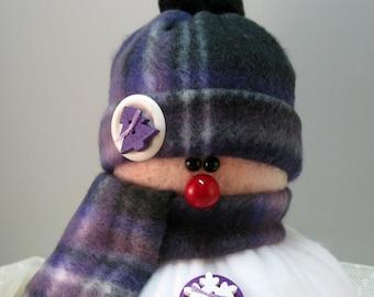 Handmade Stuffed Snowman Decoration, Christmas Holiday Decor, Snowman Christmas Ornament, Winter Decor, Purple & Black Plaid Fleece