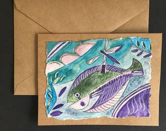Purple  Fish- Original Watercolor  Note Card with  Envelope-  Ready to frame! Free Shipping!