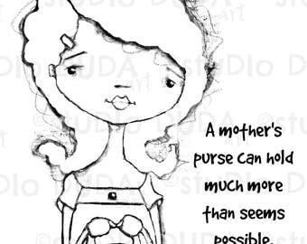 Moms Purse 2 Versions Digital Stamp - Printable - Art to Color by STUDIODUDAART