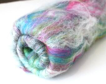 Carded Batt - Naughty Neon Nylon -  Fine Merino Wool and Nylon Blend Spin your own Sock Yarn 50g 100g