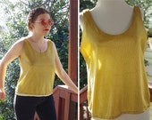 GOLD Bar 1970's 80's Vintage Bright Metallic Gold Shell Tank Top w/ Yellow Nylon Lining // by Jeanette // St. Martin Sport // size Medium