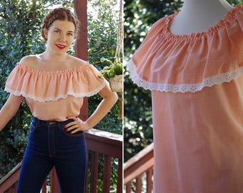 Just PEACHY 1970's Vintage Light Orange Gingham Off Shoulder Hippie Blouse with Lace Edges // Small Medium // by Krist Gudnason California