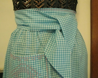 Apron Gingham Check with pink Embroidery trim, Blue Turquoise with pink trim