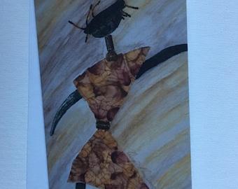 Beaded Girl- Ethnic Blank Mixed Media Art Card