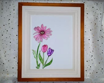 Original 9x12 Daisy and Tulip Watercolor Painting-FRAME NOT INCLUDED