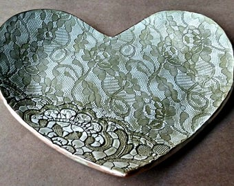 Ceramic Lace Heart Trinket Dish Sage green 9 inches wide Home accent