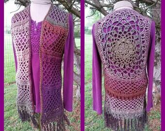 PDF Crochet Pattern for Mandala Hippie Vest