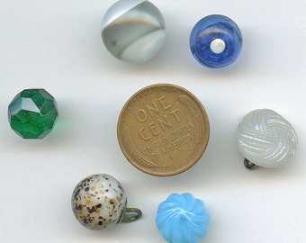 Victorian Buttons Glass (6) DIFFERENT COLORS  Vintage Various Shapes and Sizes Lot Antique 3021