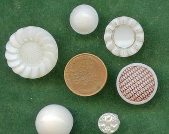 Lot of (6) Vintage and Antique White Glass Buttons Various Sizes  Lot Antique 3553
