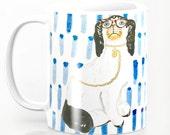 BESPECTACLED ON BLUE Mug