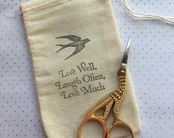 gold stork embroidery scissors with drawstring gift bag Live Well Laugh Often Love Much
