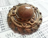 One Shabby Antique Victorian Pierced Metal and Stone Button. AS FOUND.