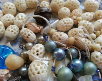 Vintage Bone Bead and Shell, Glass. Jewelry Steampunk Art Supplies.