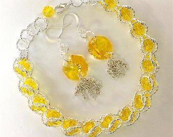 Swarovski Lemon Drop Octagon Earrings w/Celestial Crystal Captured Crystal Chain Mail Bracelet