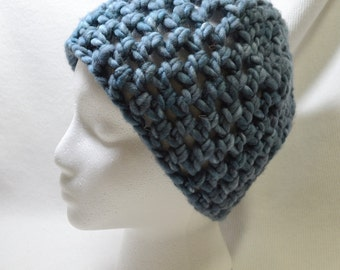 Hand Crocheted Super Chunky Beanie in Slate Blue Hand Dyed 100% US Wool Stylish Fun and Warm