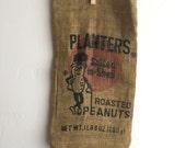 Vintage Planters Peanuts Burlap Sack Mr Peanut FREE SHIPPING