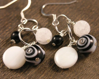 Black and white glass beads, crackle quartz stone, natural shell coins handmade silver earrings