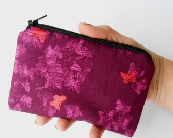 Zipper Pouch Little Padded Coin Purse ECO Friendly NEW Neo Butterflies