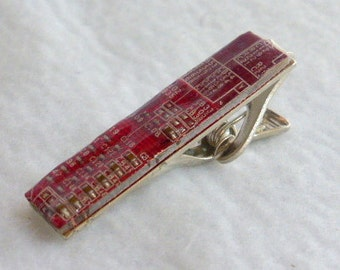 Reclaimed Red Circuit Board Tie Clip  ST10