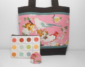 Uptown Lush Purse Set, Paint by Number Birds, Bird Purse Set, Bird Tote Bag