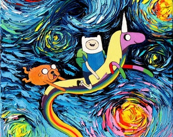Adventure Time Art CANVAS print van Gogh Never Went On An Adventure starry night Aja 8x8, 10x10, 12x12, 16x16, 20x20, 24x24, 30x30 choose