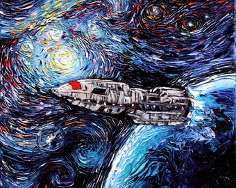 Battlestar Galactica Art - Starry Night print van Gogh Never Saw New Caprica by Aja 8x8, 10x10, 12x12, 20x20, and 24x24 inches choose