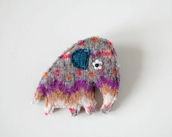 Elephant Brooch, Fairisle Wool brooch - Grey and Purple Cute Animal Badge