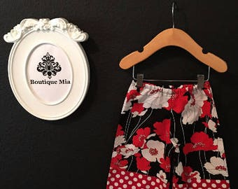 Sample SALE - Will fit Size 6-12 month - Ready to MAIL - Samurai PANTS -  Mod Flowers - by Boutique Mia