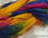 4 oz Hand painted Bamboo combed top spinning fiber - Steel Blues colorway