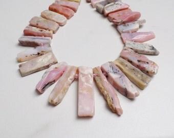 Pink Peruvian Opal stick beads