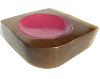 Handcrafted Bowl, Pink Bowl, Walnut Bowl, Painted Wood, Wood Art by Tracy Melton, Walnut Wood Art, Most Popular Shops, Most Popular Item