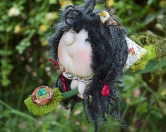 Fenella the Forest Witch & her bird familiar - Kitchen Witch Doll - Herb Witch - Green Witch - Good luck doll for your kitchen!