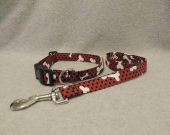 "Large Dog Collar 16-20"" x 1"" Wide and /or 4 Foot Leash Brown/Dots & Bones"
