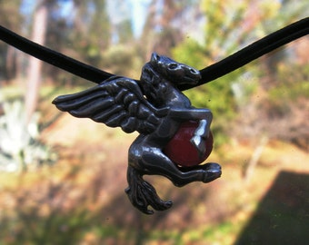 Sterling Silver Pegasus Pendant With Carnelian