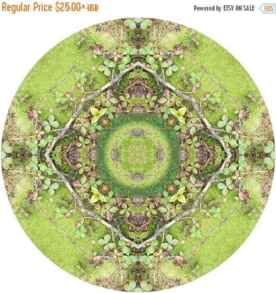 Mandala Art, Abstract Nature Print, Geometric Art Print, Peaceful Round Art, Fine Art Print in Moss Green