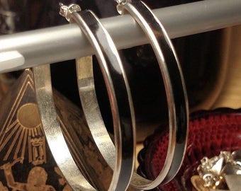 1980s Huge Large Vintage Silver Black Enamel Retro Hoop Earrings Pierced Posts 2 Inches