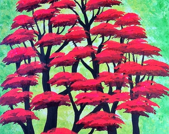 Tree painting, Red Forest, Original acrylic painting by Jordanka Yaretz