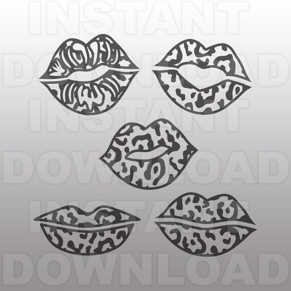valentines leopard print lips svg file commercial  u0026 personal
