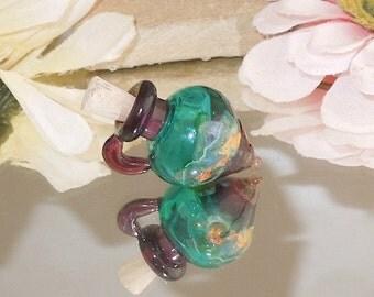 Handmade Glass Lampwork Bottle Vessel Teal Purple Opal-Bastet's Beads