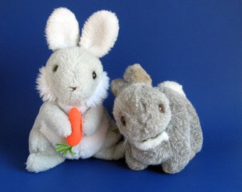 Vintage Pair of Easter Bunny Rabbits Stuffed Animals 1980s Toys Gray Grey White Orange Carrot