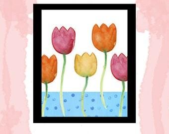 Instant Download Printable watercolor tulip flowers