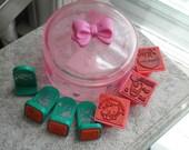Vintage Sanrio Hello Kitty My Melody & KeroKeroKeroppi Stamp Lot - Collectible Hello Kitty Kawaii Stamps + Plastic Trinket Dish - Retro Gift