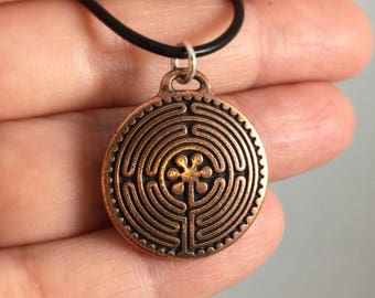 Copper Chartres Labyrinth Necklace on Leather & Sterling Silver Cord, All Who Wander are Not Lost, Journey Jewelry, USI New Harmony Gift Her