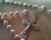 Little girl pink Rosary beads,  Baptism,  Christening, pink pearls customized for Peggy