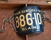 Repurposed Mini License Plate Road Trip bracelet Kentucky