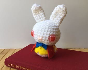The White Rabbit Moon Bun - Amigurumi Bunny Rabbit Doll - Alice's Adventures in Wonderland