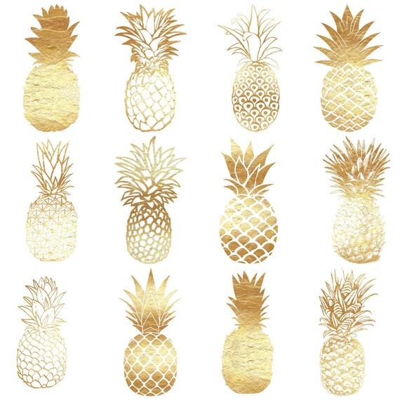 Gold Pineapples, Digital clip art, 12 Gold foil pineapples ...